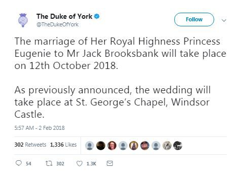 Princess Eugenie Announces Date For Royal Wedding to Jack Brooksbank