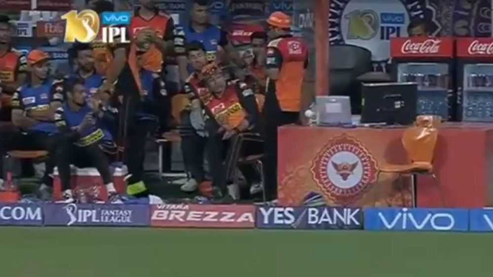 Sunrisers batsman hits ball for boundary and damages his team's computer in IPL