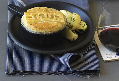 Beef, mushroom and Guinness pie