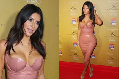 Kim Kardashian stepped out at the Melbourne launch of her latest perfume offering, Fleur Fatale, wearing this killer pastel pink latex dress.Well, that kills of the pregnancy rumours then.<br/><br/>The reality TV hottie met fans in the $460 dress, purchased from a fetish shop in London. Now....are we brave enough to don one too?