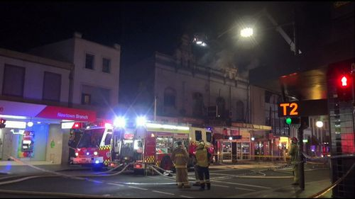Two firefighters have been taken to hospital after being injured while battling a major blaze at a restaurant in Sydney's inner-west last night.