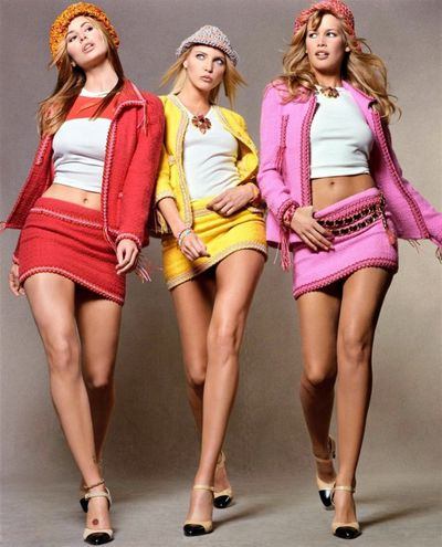 Niki Taylor, Nadja Auermann and Claudia Schiffer in Chanel.