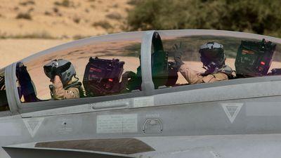 The crew aboard a Super Hornet prepare for take-off. (Picture: ADF)