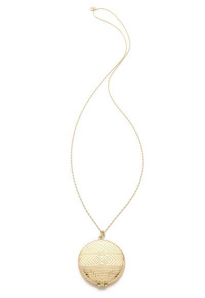 """<a href=""""https://www.shopbop.com/medallion-locket-necklace-house-harlow/vp/v=1/1572274163.htm?"""" target=""""_blank"""">Locket, $102, House of Harlow 1960 at shopbop.com</a>"""