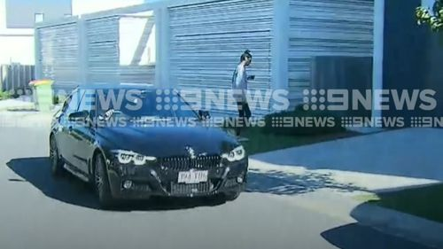 Sara Huegill has surfaced for the first time since being arrested for stealing the $2500 leather pants. Picture: 9NEWS