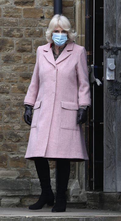 The Duchess of Cornwall leaves after visiting the Community Vaccination Centre at St Paul's Church, Croydon, where she thanked NHS staff and church representatives supporting the UK vaccination rollout. Picture date: Wednesday March 3, 2021.