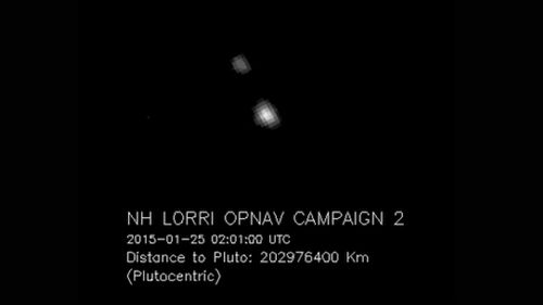 The image from the probe's LORRI camera showing Pluto and its largest moon Charon. (NASA)
