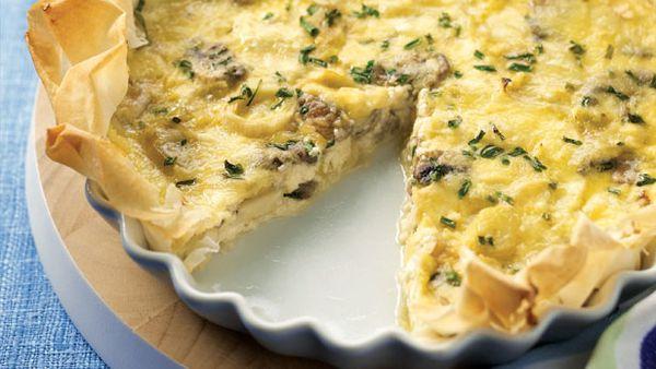 Leek and mushroom freeform pie