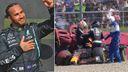 Lewis Hamilton celebrates as Max Verstappen crashes out
