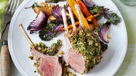 Herb crusted lamb racks & roasted vegetable salad