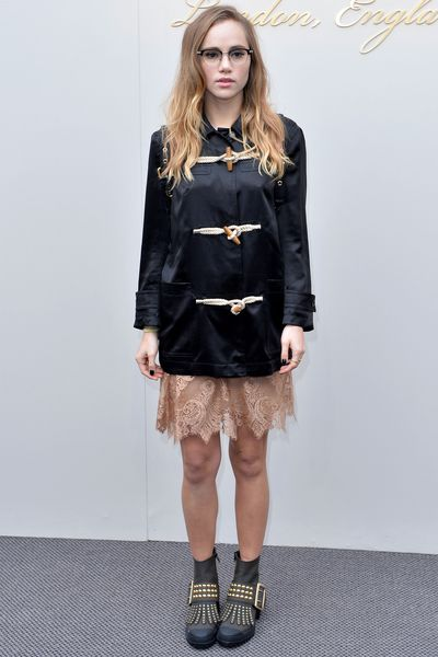 """<p>""""I'm going for a geek chic look,"""" said Suki Waterhouse of the chunky parka, backpack and glasses combo she wore to Burberry. """"I do have a big inner geek. It gets forgotten about sometimes but it's definitely there.""""</p><p>While she might claim to be geek, chic was definitely the operative word when it came to the Burberry AW16 front row. <br /><br />Supermodel Naomi Campbell was there in a military style jacket, Clemence Poesy brought a French touch to the classic trench while Rosie Huntington-Whiteley gave the new Burberry Belt Bag a spin. <br /><br />Click through to see what all the guests wore.</p>"""