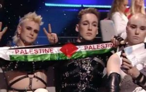Iceland's Eurovision singers hold up Palestinian flag during contest