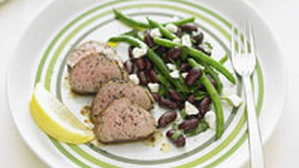 Pork fillet with bean salad