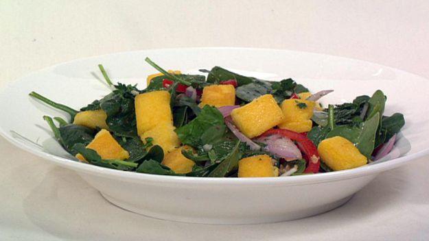 Crispy polenta, capsicum & walnut salad