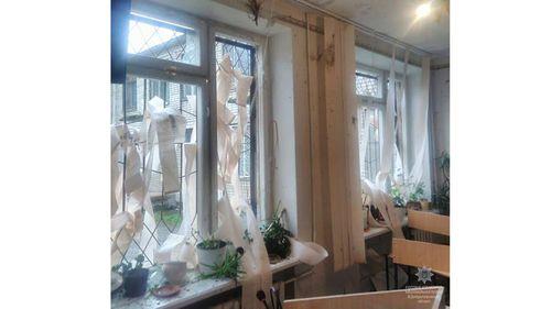 The court's windows were blown out by the force of the explosion. (Image: Ukrainian Police Facebook)