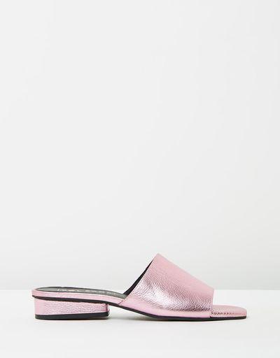 "<a href=""https://www.theiconic.com.au/hamilton-slides-487079.html"" target=""_blank"">Sol Sana Hamilton Slides in Pink Metallic, $149.95<br> </a>"