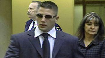 Jarrod Bacon, centre, during an earlier court appearance in Canada. (Twitter).