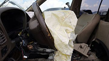 Airbag in crashed car (Getty)