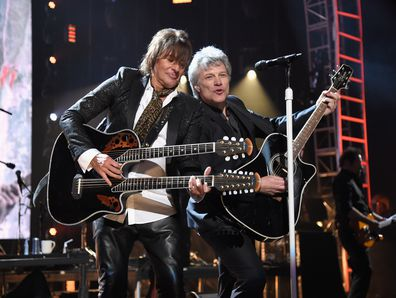 Richie Sambora and Jon Bon Jovi perform during the 33rd Annual Rock & Roll Hall of Fame Induction Ceremony at Public Auditorium on April 14, 2018 in Cleveland, Ohio.