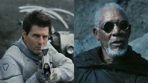 Tom Cruise and Morgan Freeman in Oblivion.