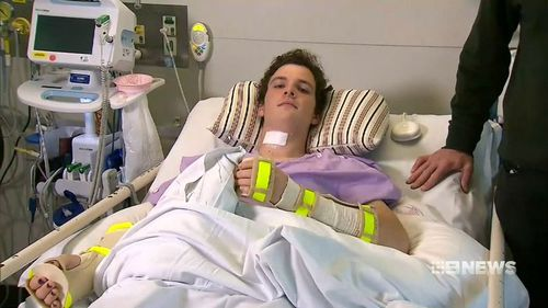 16-year-old prop Conor Tweedy dislocated his C4 and C5 vertebrae after a scrum collapsed. Picture: 9NEWS