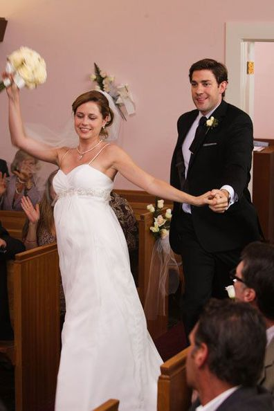 Jim and Pam reluctantly join in on their surprise wedding dance on The Office