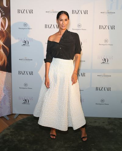 Model Lindy Klim at the Harper's Bazaar 20th anniversary party