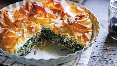 "Recipe:&nbsp;<a href=""http://kitchen.nine.com.au/2016/10/12/12/42/the-dinner-ladies-spinach-ricotta-and-feta-filo-pie"" target=""_top"">The Dinner Ladies spinach, ricotta and feta filo Pie</a>"