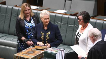 Newly-elected Independent MP for the seat of Wentworth Kerryn Phelps is sworn in in the House of Representatives at Parliament House in Canberra today.