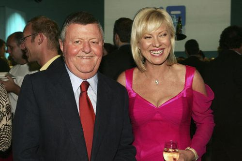 Sam Chisholm poses with TV personality Kerri-Anne Kennerly at the launch of the 2005 Channel Nine programs. Picture: Getty