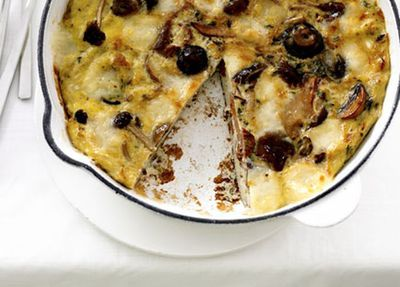 "Recipe:&nbsp;<a href=""http://kitchen.nine.com.au/2016/05/19/16/42/mushroom-and-fontina-frittata"" target=""_top"">Mushroom and fontina frittata</a>"