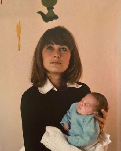 Carole Middleton holding Kate as a baby