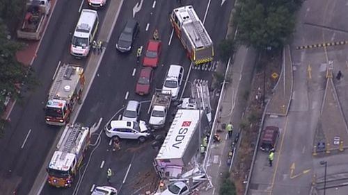 An aerial view of the crash scene. (9NEWS)