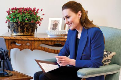 The Duchess of Cambridge interviews Ugandan nurse and midwife Harriet Nayiga about her work with vulnerable young girls. Kate Middleton Kate