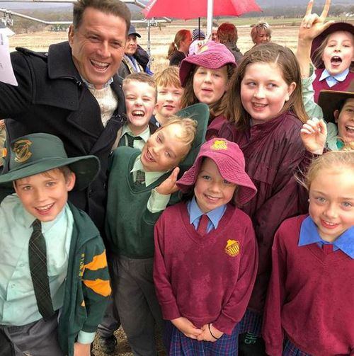 Today Show host Karl Stefanovic is touring the drought-ravaged communities of New South Wales. Picture: 9NEWS