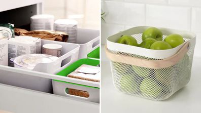 Storage baskets from IKEA for the kitchen