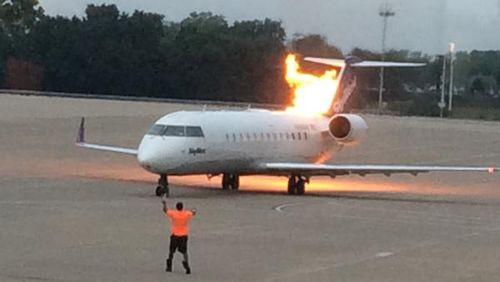 US flight goes up in flames moments before jetting down the runway