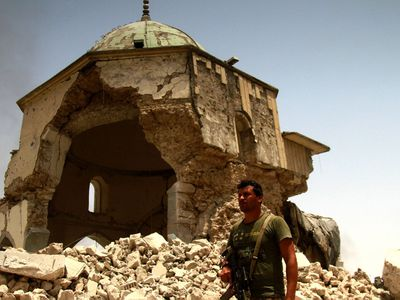 "ISIS fighters in Mosul have been pushed into a shrinking rectangle of no more than 300m x 500m as the few who remain make their doomed last stand.<br /> The handful of streets are the only territory Islamic State has not lost in the ancient city, after I<a href=""http://www.9news.com.au/world/2017/07/04/02/05/is-cornered-as-iraq-readies-celebrations"">raqi forces forced insurgents into a corner</a> over the course of an eight-month campaign.<br /> The 4000-year-old city has been reduced to rubble at the hands of the extremists who, nearly three years ago to the day, announced the founding of their ""caliphate"" over parts of Iraq and Syria."