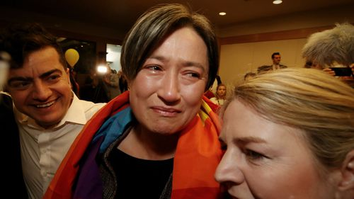 Senator Penny Wong after the result in the same sex marriage survey at Parliament House in Canberra on Wednesday 15 November 2017.