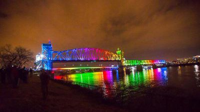 A bridge in Arkansas was also illuminated after the announcement. (Twitter)