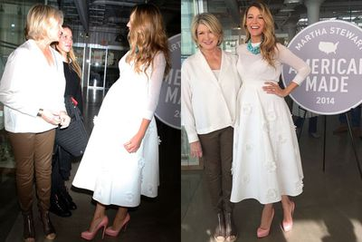 With the blink of a mascara wand, Blake turns from sex kitten to chic homemaker. <br/><br/>Here she is in all-white with her idol Martha Stewart. Umm... <I>Stepford Wives</I> much?