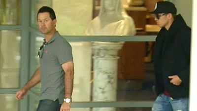 Former Test captain Ricky Ponting was among supporters at Hughes' bedside. (9NEWS)