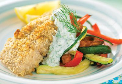Fish and vegie chips with caper yoghurt