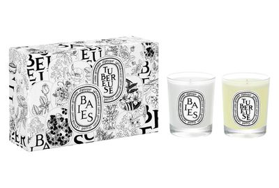 """<a href=""""http://mecca.com.au/diptyque/mini-candle-duo-baies-and-tuberose/I-021336.html?cgpath=whatsnew-all#sz=473&amp;start=1"""" target=""""_blank"""">Mini Candle Duo Baies and Tuberose, $87, diptyque Paris.</a>"""