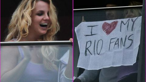 'I love my Rio fans': Britney Spears hangs sign from her own balcony!