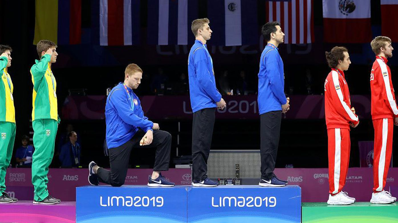 Race Imboden protests during the Pan American Games