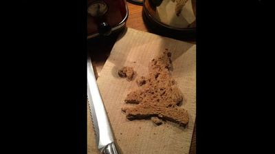 """But not everyone's a believer. The cynics over at The Media Blog posted a photo with a tongue-in-cheek caption: """"Tell the papers! I was making toast when I noticed my bread looks a bit like the UK without Scotland! May be (sic) an omen."""""""