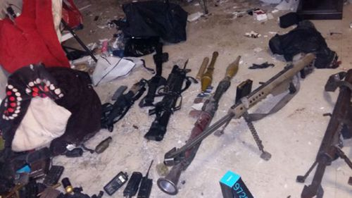 Mexican authorities provided this image of weapons seized in the raid to recapture Guzman. Picture: Mexico Navy