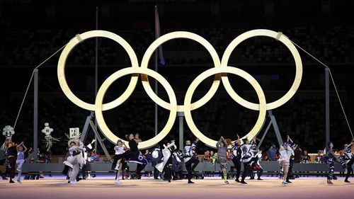 The Olympic rings are displayed during the opening ceremony for the Tokyo Games.