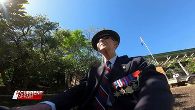 WWII veteran Tommy Knox joined a parade of one down his home street on Anzac Day.